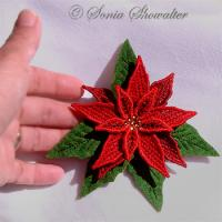 Red Poinsettia Pin or Magnet