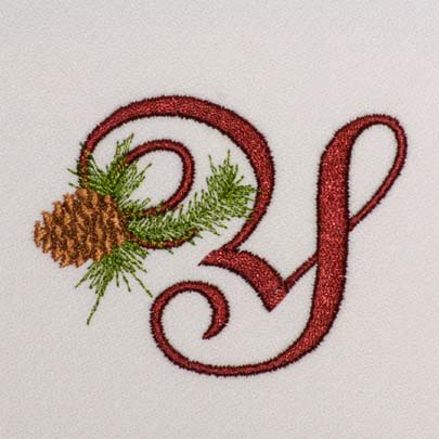 Alphabet embroidery patterns instant download christmas pine alphabet y thecheapjerseys Image collections