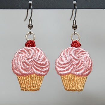 Cupcake Earrings ( Free Standing Lace)