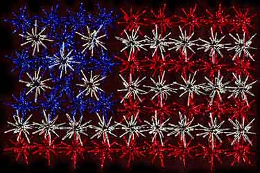 fireworks with flag