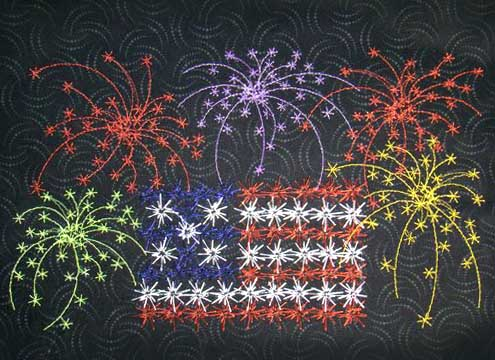 Fireworks and Flag ( Extra Large)