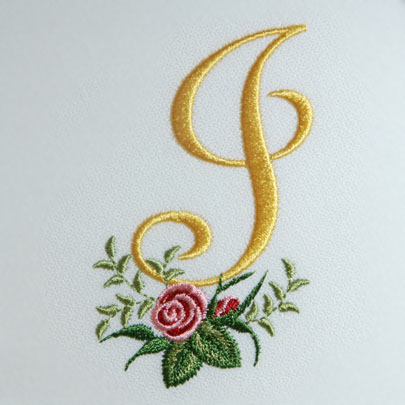 Beau Heirloom Roses Alphabet  J