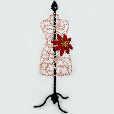 Wire Dress Form with Poinsettia