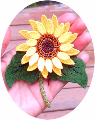 Sunflower Pin or Magnet (Free Standing Lace)