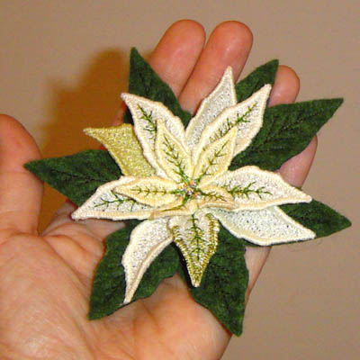 Poinsettia Pin or Magnet ( White)