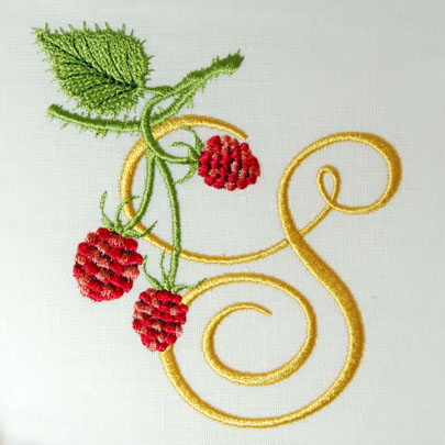 s alphabet designs  Wild Raspberries Alphabet- S