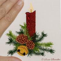 Christmas Pine Candle & Bell