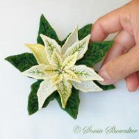 White Poinsettia Pin or Magnet