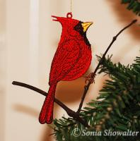 Cardinal Ornament (Free Standing Lace)