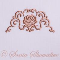 Whitework Linen Border & Rose