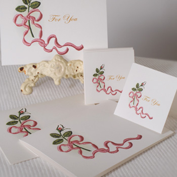 Heirloom Roses Bud & Ribbon Cards ( For Printing)